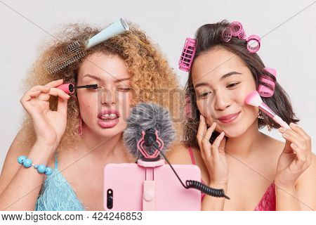 Mixed Race Professional Women Vloggers Do Make Up Beauty Products Review Record Video Blog Via Smart