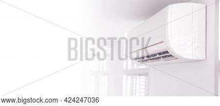 Air Conditioner Inside The Room ,air Conditioner On Wall Background