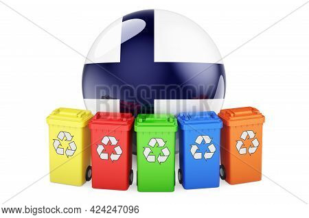 Waste Recycling In Finland. Colored Recycling Bins With Finnish Flag, 3d Rendering Isolated On White