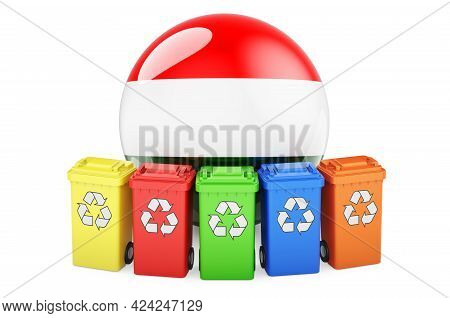 Waste Recycling In Hungary. Colored Recycling Bins With Hungarian Flag, 3d Rendering Isolated On Whi