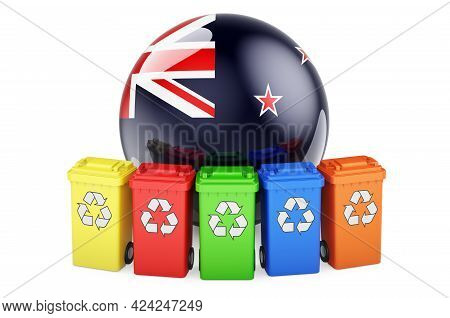 Waste Recycling In New Zealand. Colored Recycling Bins With New Zealand Flag, 3d Rendering Isolated
