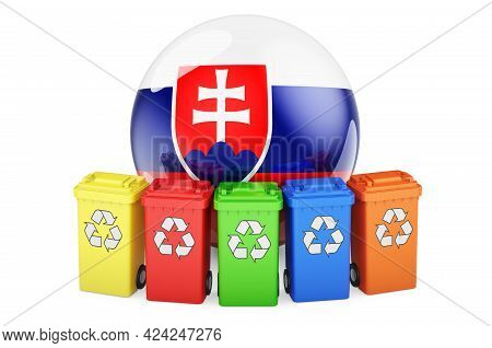 Waste Recycling In Slovakia. Colored Recycling Bins With Slovak Flag, 3d Rendering Isolated On White
