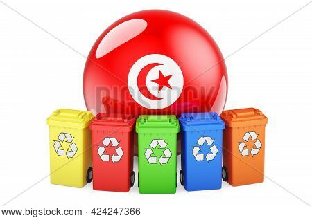 Waste Recycling In Tunisia. Colored Recycling Bins With Tunisian Flag, 3d Rendering Isolated On Whit