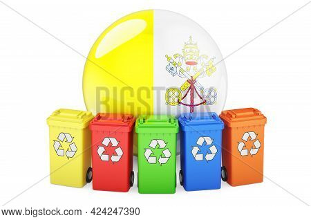 Waste Recycling In Vatican. Colored Recycling Bins With Vatican Flag, 3d Rendering Isolated On White