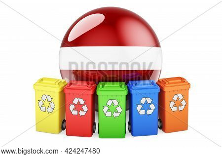 Waste Recycling In Latvia. Colored Recycling Bins With Latvian Flag, 3d Rendering Isolated On White