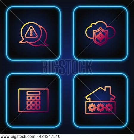 Set Line House With Password, Password Protection, Exclamation Mark In Triangle And Cloud And Shield