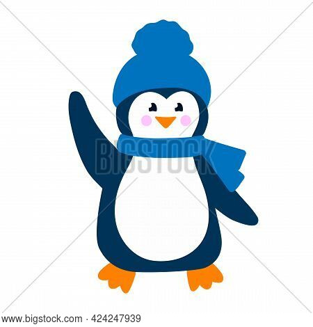 Cute Penguin In Blue Hat And Scarf Smiles And Waves His Hand. Colorful Vector Illustration In Flat S