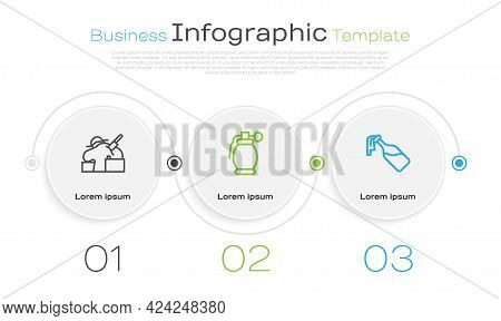 Set Line Murder, Hand Grenade And Cocktail Molotov. Business Infographic Template. Vector