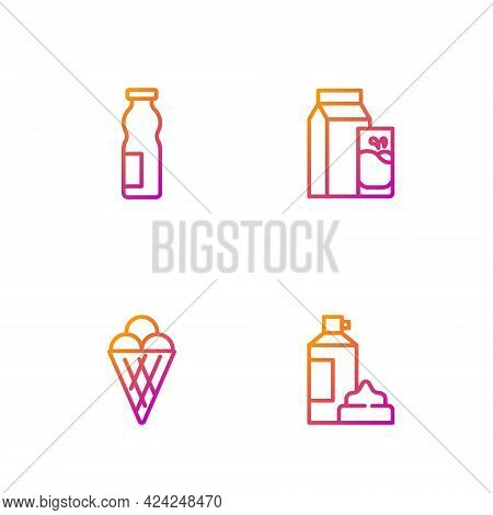 Set Line Whipped Cream In Bottle, Ice Waffle Cone, Drinking Yogurt And Paper Package For Kefir. Grad