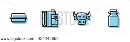 Set Line Cow Head, Butter In Butter Dish, Paper Package For Milk And Can Container Icon. Vector
