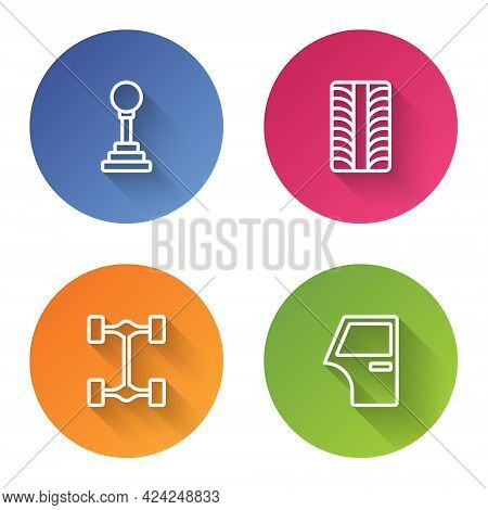 Set Line Gear Shifter, Car Tire Wheel, Chassis Car And Door. Color Circle Button. Vector