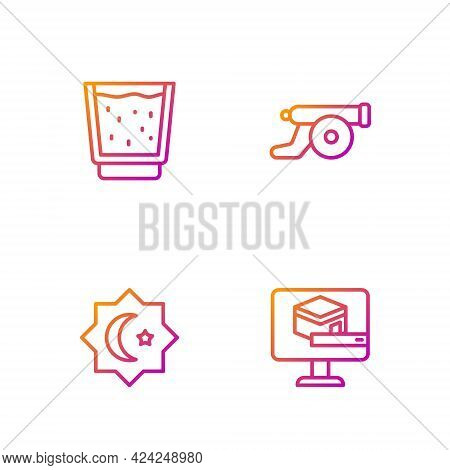 Set Line Kaaba Mosque, Octagonal Star, Glass With Water And Ramadan Cannon. Gradient Color Icons. Ve