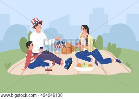 Happy American Family Celebrate Independence Day Flat Color Vector Illustration. Picnic On 4th Of Ju