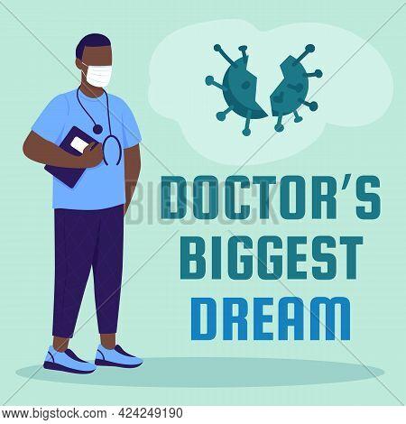 Health Care Worker Social Media Post Mockup. Doctor Biggest Dream Phrase. Web Banner Design Template