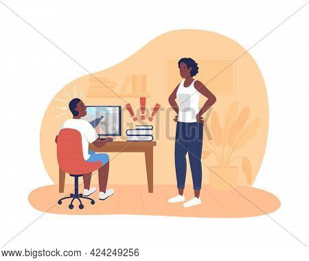 Mother Argue With Teenager About Homework 2d Vector Isolated Illustration. Child Procrastinating On