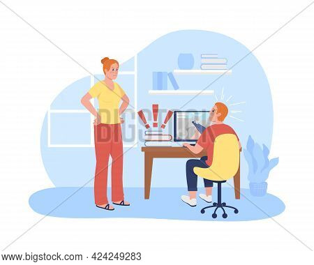 Mother Argue With Procrastinating Teen Son 2d Vector Isolated Illustration. Kid Playing Computer Gam