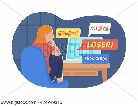 Teen Girl And Cyber Bullying Problem 2d Vector Isolated Illustration. Crying Child In Front Of Hate