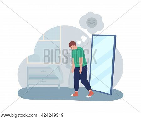 Obese Unhappy Teen Boy 2d Vector Isolated Illustration. Sad Kid With Depressing Thoughts. Fat Child