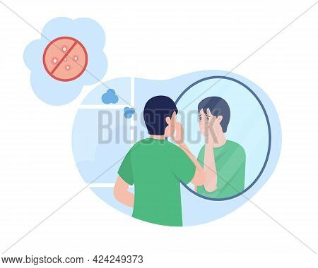 Teenage Boy Sad Over Pimple 2d Vector Isolated Illustration. Skin Care Issue With Acne. Sad Child Lo