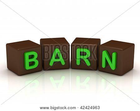 Barn Inscription Bright Green Letters