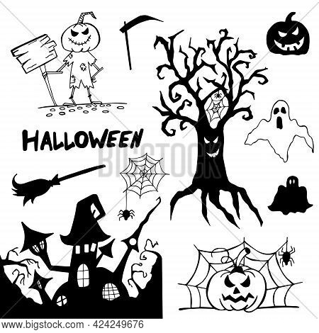 Halloween Doodle Set Hand Drawn. Halloween Vector Collection Of Holiday Symbols. Pumpkin, Grave, Gho