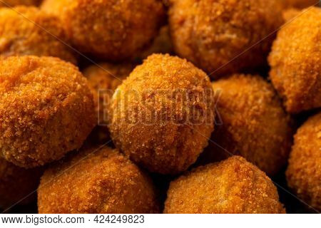 Meat Free Vegetarian Mini Picnic Scotch Eggs With Micoprotein And Herbs. Vegan Healthy Food.