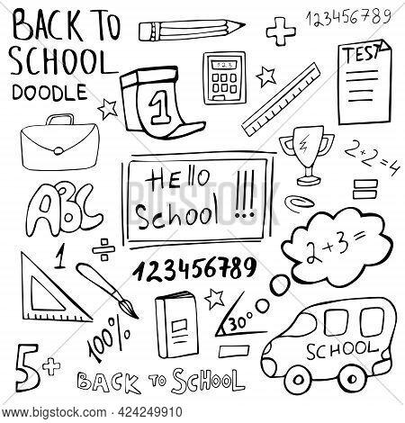 Hello School Doodle Set Hand Drawn. Back To School Vector Icon Collection. Drawn Symbols Are School