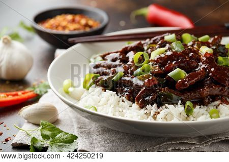 Mongolian Beef Stewed In Dark Soy Sauce With . Asian Style Food