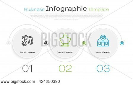 Set Line Gem Stone, Necklace Mannequin And Jewelry Store. Business Infographic Template. Vector