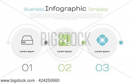 Set Line Server, Data, Web Hosting, Motherboard Digital Chip And Processor With Cpu. Business Infogr