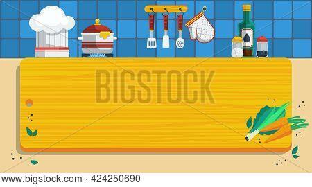 Kitchen Vector Illustration. Cooking Flat Symbols. Kitchen Utensils Design Set. Cooking Background I