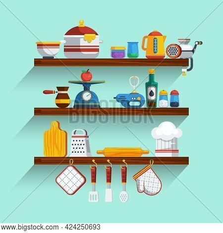 Kitchen Shelves Set. Kitchen Shelves Vector Illustration. Cooking Flat Symbols. Kitchen Shelves Desi