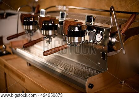 Professional Coffee Machine With The Spout For Steaming Milk