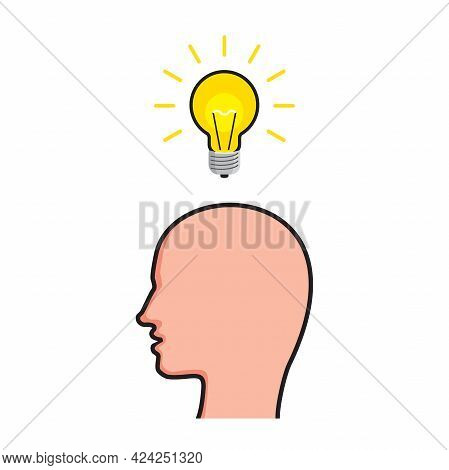 Human Head And Light Bulb. Creative Thinking And Imagination Concept. Vector Illustration
