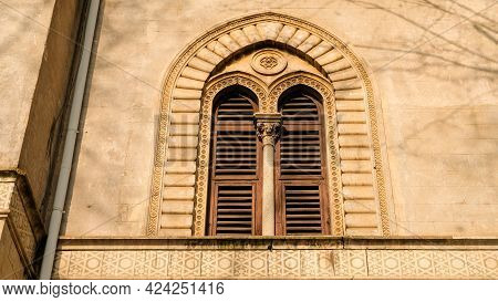 Details Of A Moorish Style Window, That Strangely Belongs To A Building Located In Rome.