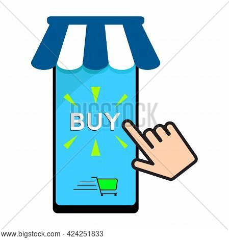 Mobile Online Store Concept. Smartphone With Buy Button And Hand Ready To Push. Buy Online Shop Mark