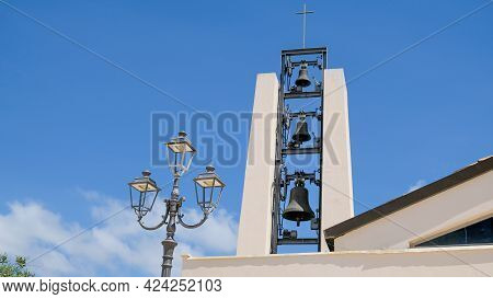 Sperlonga Town, Province Of Latina, Lazio Region. This Is The Bell Tower Of Church Of Santa Maria As