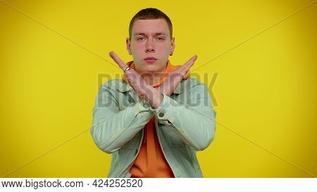 No Stop. Stylish Adult Boy Say No Hold Palm Folded Crossed Hands In Stop Danger Gesture, Warning Of
