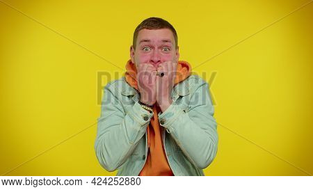 Upset Scared Frightened Teenager Student Boy Biting Nails, Feeling Worried Nervous About Serious Tro