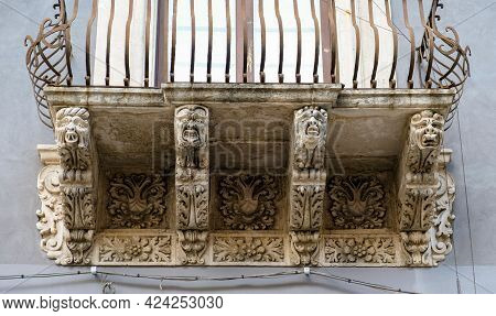 Catania, Sicily. One Of The Spectacular Balconies At The City Downtown, Example Of The Sicilian Baro