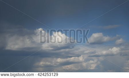 Overcast Sky With Grey Cumulus Clouds With Rain Flow Pouring. Dramatic Sky Cloudscape With Rain And