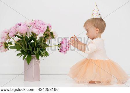 Adorale Caucasian Blonde Baby Girl Wearing Gala Dress, Birthday Hat Touching Beautiful Pion Pink Flo