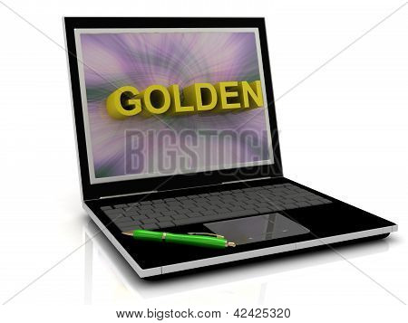 Golden Message On Laptop Screen
