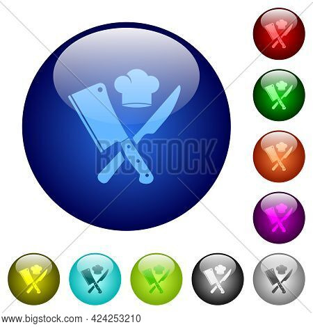 Crossed Meat Cleaver And Knife With Chef Hat Icons On Round Glass Buttons In Multiple Colors. Arrang