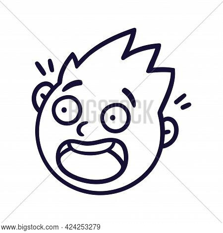 Round Abstract Face With Frightened Emotions. Scared Emoji Avatar. Portrait Of A Panicked Man. Carto
