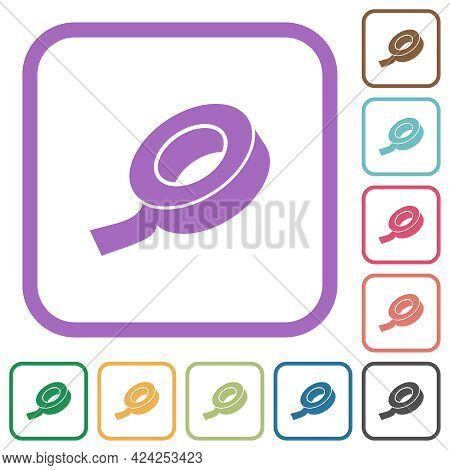 Insulating Tape Simple Icons In Color Rounded Square Frames On White Background