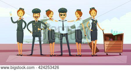 Plane Crew Cartoon Background With Pilot And Flight Attendants Vector Illustration