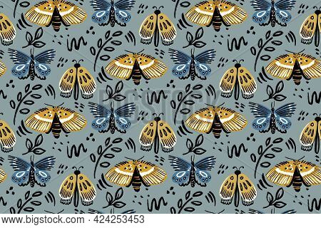 Vector Handdrawn Trendy Butterfly Seamless Pattern. Insect Fashion Textile Surface Design. Boho Styl