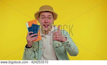 Traveler Tourist Teen Student Boy Celebrating, Holding Passport, Tickets. Concept Of Young Man Summe