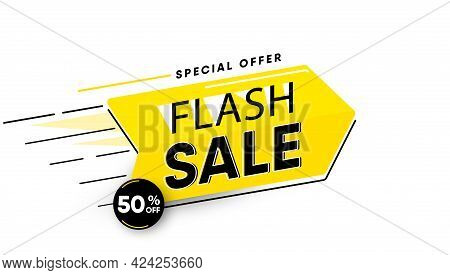 Sale Banner Vector Illustration Look Like Big Yellow Arrow With Offer Text Sign 50 Percent Off Isola